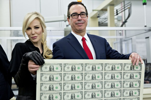 Treasury Secretary Mnuchin Views Production Of Currency Bearing His Signature